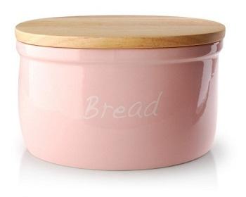 ceramiczny chlebak z drewnianą deską