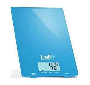 niebieska elektroniczna waga spożywcza Lafe WKS001.4, z maksymalnym limitem do 5kg oraz tolerancją błędu do 1g