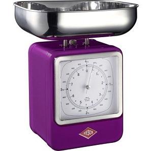 waga kuchenna Wesco Retro - kolor fioletowy, z mechanicznym zegarem i zasilaniem bateryjnym, z limitem ciężaru do 4k i błędem pomiarowym wynoszącym 20g